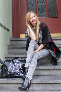 skinny jeans by Blend She - heels by Zara - bag by Logoshirt - cape by Fraas - May the Force be with you - Star Wars - Darth Vader http://store.fraas.com/shop/de/29_capes_ponchos.html