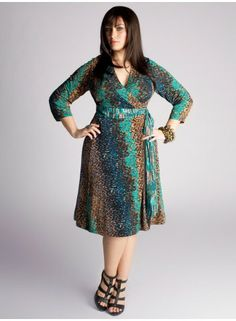 Dvf Dresses Plus Size Cheryl Wrap Dress in Teal
