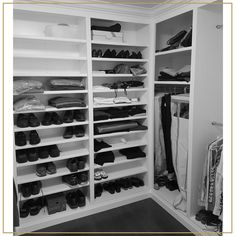 Your closet should be a peaceful place that welcomes you into a morning under your control and an evening free of stress. That's why we love installing custom cabinets in walk-in closets like this one - everything has its own special place, so struggling to find what you need is a thing of the past!