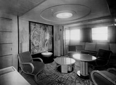 SS Normandie, Cabin aboard the French Art Deco Ocean Liner SS Normandie Bauhaus, Ss Normandie, Art Nouveau, Nautical Interior, Vintage Interiors, Deco Interiors, Streamline Moderne, Art Deco Furniture, Beautiful Ocean