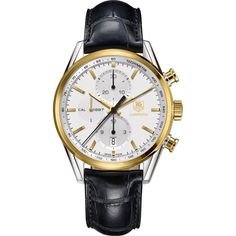 Tag Heuer Men's CAR2150.FC6266 Carrera 18kt Yellow Gold Chronograph Automatic Black Leather Watch