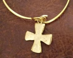 Gold plated bangle with cross charm - Edit Listing - Etsy