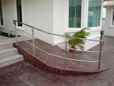 patio handicap ramp at DuckDuckGo Ramp Design, Deck Design, House Design, Handicap Accessible Home, Handicap Ramps, Disabled Ramps, Porch With Ramp, Ramp Stairs, Access Ramp