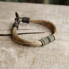 Olive green organic mens bracelet, linen bracelet for him, natural jewelry by Naryajewelry on Etsy https://www.etsy.com/listing/192320144/olive-green-organic-mens-bracelet-linen