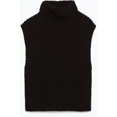 Zara Knitted Waistcoat ($40) ❤ liked on Polyvore featuring outerwear, vests, black, black waistcoat, waistcoat vest, black vest and zara vest
