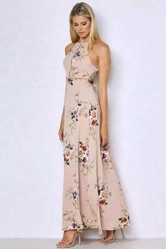Bear Shoulder Backless Floral Print Split Long Dress