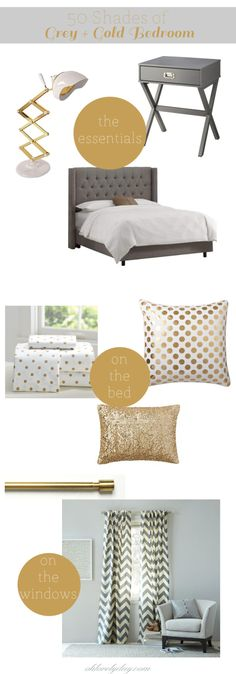 Grey + Gold Bedroom Inspiration | I want to do sea foam green + gold
