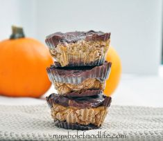 Pumpkin Pecan Chocolate Cups.  The pumpkin and chocolate go beautifully together.  There is very little added sugar needed.  Vegan, gluten free and grain free.