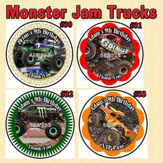 Monster Jam Truck  Birthday Stickers Round 1 by SRPrintingService, $5.00