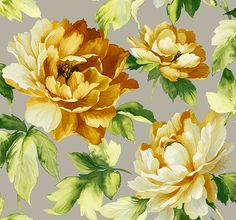 Ida Floral Wallpaper in Yellows and Metallic by Carl Robinson for Seabrook Wallcoverings