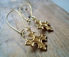Brass Cross Earrings Whimsical Simple Gifts Under 20 Spiritual Religious Jewelry Gothic Gifts For Her Long Dangles Steampunk Punk Rock by FuchsiaBloomStudio on Etsy