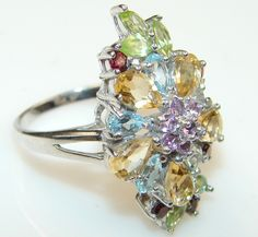 $66.66 Unity Is Power Luxury Multigem Sterling Silver Ring s. 8 at www.SilverRushStyle.com #ring #handmade #jewelry #silver #garnet