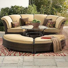 Such a wonderful outdoor set.  Taupe colors blend in with the natural scenery.