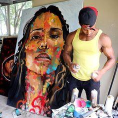 "blackhaiirstyles: "" fuckrashida: "" jukadiie: "" Jon Moody "" "" excuse me sir. Black Art Painting, Black Artwork, Cool Art Drawings, Art Drawings Sketches, Black Art Pictures, Artist Aesthetic, Afro Art, Black Artists, Dope Art"