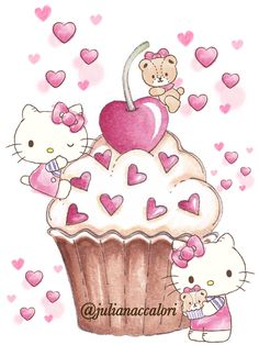 Hello Kitty And Cupcake And Mimmi Hello Kitty Art, Hello Kitty Themes, Hello Kitty My Melody, Sanrio Wallpaper, Hello Kitty Wallpaper, Kids Cartoon Characters, Cute Characters, Pretty Drawings, Kawaii Drawings