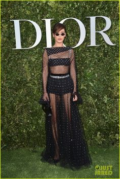 Bella Hadid Wears Sheer Dress for Dior Exhibition Opening