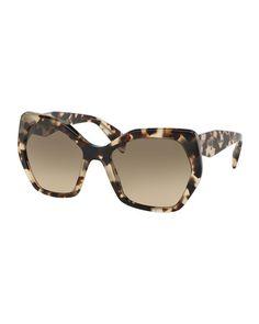 PRADA Heritage Hexagonal Sunglasses, Black, Spot Tort. #prada #