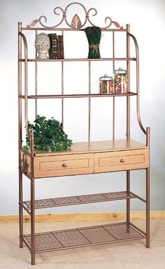 Old Dutch Copper Scroll Bakers Rack With  Wooden Drawers And  Metal Mesh Shelves