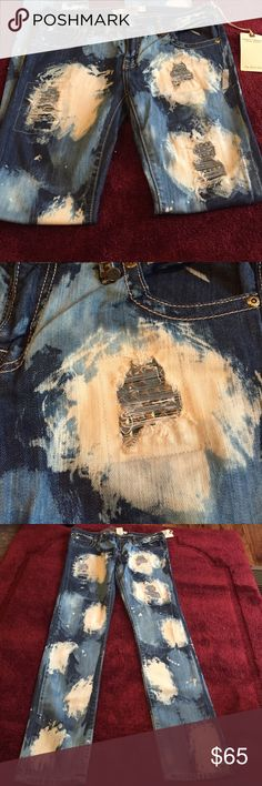NWT SAINT MARC DENIM CULTURE JEANS SZ31 NEW WITH TAGS. SAINT MARC CULTURE DISTRESSED WITH STUDDED PATCHES. JEANS SIZE 31 inseam 31. RETAILS OVER $150 I'm selling for my daughter in law that had a baby before she got to wear these fabulous jeans. saint marc Jeans Straight Leg