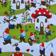Village: gnomes in their toadstool houses. Euro by loiseaufabrics Gnome Village, Cute Rompers, Poplin Fabric, Life Is Beautiful, Gnomes, Scandinavian, Kids Rugs, Knitting, Fabrics