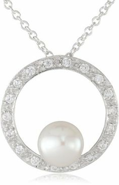 """Sterling Silver 8-8.5mm Freshwater Cultured Pearl and Cubic Zirconia Pendant Necklace, 18"""" Amazon Curated Collection. $49.99. Carved rings are naturally occurring imperfections that result from the pearl rotating inside the mollusk as it is growing. They define the unique beauty of each pearl and may vary in size, number and depth per pearl.. The natural properties and process of pearl formation define the unique beauty of each pearl. The image may show slight di..."""