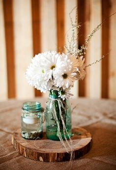 Simple Rustic Country Wedding Table Centerpieces