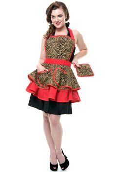 Leopard Lounge Betty Apron - Unique Vintage - Pinup, Holiday & Prom Dresses.