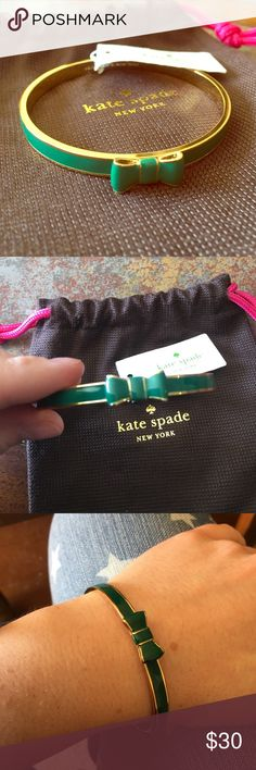 😁BUNDLE ONLY😁Kate Spade ♠️ Green Bow Bangle Brand new with tags and dust bag kate spade Jewelry Bracelets