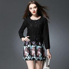 bd8afb0ccaace Zhirun Plus Size Long Sleeve Floral Lace Dress