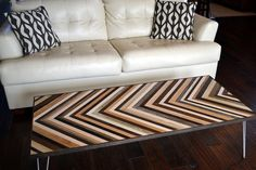 Chevron Coffee Table with Hairpin legs by moderntextures on Etsy