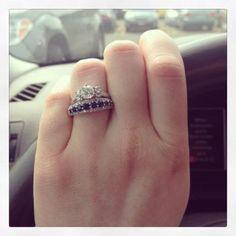 Unique Bridal Set: Diamond Engagement Ring/Sapphire & Diamond Band