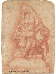 Artwork by Girolamo Genga, The Madonna and Child seated on a throne, Made of red chalk