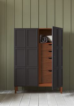 The Frey Armoire features panelled doors which open to reveal timber-lined interiors. We offer a series of standard internal configurations including hanging space shelves and drawers. Room Interior Design, Home Interior, Dark Wood Dresser, Tall Cabinet Storage, Locker Storage, London Design Week, Home Furniture, Furniture Design, Boffi