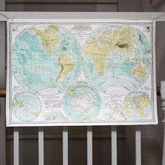 Wrap - World Map Hemisphere £3 loved by staff at www.willowandstone.co.uk