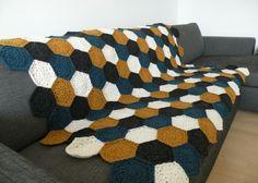 Hæklet tæppe af sekskanter