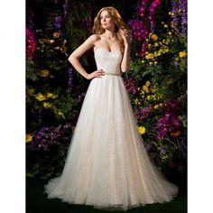 Ball Gown Sweetheart Tulle Chapel Train Wedding Dress