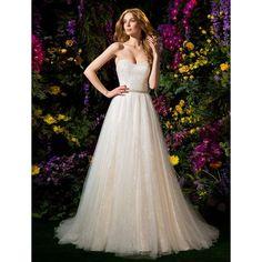 Ball Gown Sweetheart Tulle Chapel Train Wedding Dress