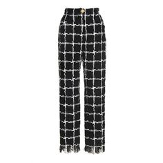 Tiled Straight Leg Trousers | Moda Operandi (€1.491) ❤ liked on Polyvore featuring pants, high rise trousers, straight leg trousers, high-waist trousers, straight leg pants and high rise pants