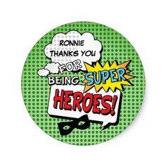 Super Hero Comic Strip Mask Kids Birthday Stickers @ZazzleUK #SuperheroStickers #SuperheroBirthday