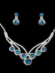 Gorgeous Rhinestones Wedding Bridal Jewelry Set, Including Necklace, Earrings