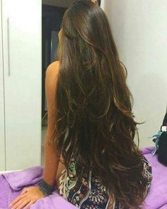 Women with Beautiful Hair Long Dark Hair, Long Layered Hair, Very Long Hair, Haircuts For Long Hair, Long Hair Cuts, Beautiful Long Hair, Gorgeous Hair, Long Indian Hair, Long Hair Highlights