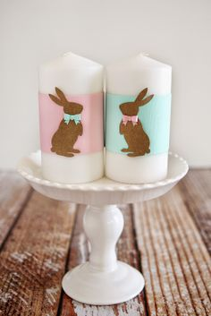 Mr and Mrs Bunny Candles