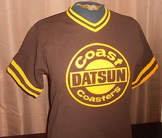 VTG 1980s Datsun Car Dealer - Softball Jersey - Brown/Yellow Polyester - Medium