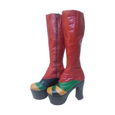 1970s Incredible Glam Rock Leather Platform Boots Made in Italy | From a collection of rare vintage shoes at https://www.1stdibs.com/fashion/accessories/shoes/