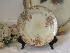 Antique French  ironstone, terre de fer, Choisy le Roi collectible, display plate. c1878.  Country cottage chic.