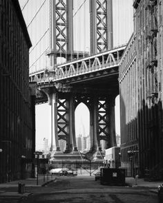 Manhattan Bridge (DUMBO New York) / Down under the Manhattan Bridge Overpass. By Dave Beckerman Manhattan Bridge, Brooklyn Bridge, Nwe York, Dumbo New York, New York Photography, White Photography, Photo Store, New York Photos, Nyc Photographers