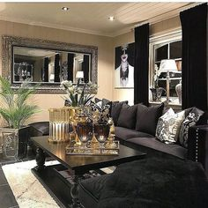 Finest black living room couch made easy Elegant Home Decor, Glam Living Room, Home Decor Inspiration, New Living Room, Black Living Room Decor, House Interior, Apartment Decor, Living Room Grey, Black Living Room