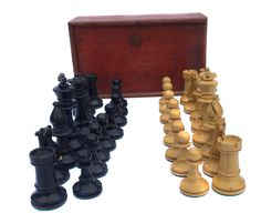 1930s Quality Set of Boxed Wooden Weighted Staunton Chess Pieces Vintage Chess Vintage Game Vintage Board Game Vintage Chessmen by BiminiCricket on Etsy