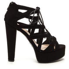 Raging Cage Faux Suede Heels BLACK ($26) ❤ liked on Polyvore featuring shoes, pumps, black, platform pumps, high heel pumps, black platform pumps, thick-heel pumps and black lace up shoes