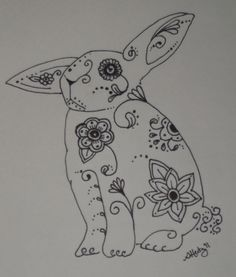 Sugar Skull Rabbit Bunny Pen and Ink Drawing - 9x12. $25.00, via Etsy.